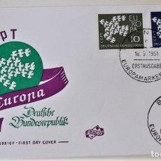Francobolli: ALEMANIA. 239/40 EUROPA-CEPT: PALOMAS. 1961. MATASELLO PRIMER DÍA. Lote 176717043