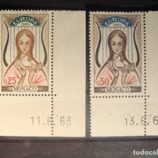 Sellos: EUROPA CEPT 1963 MONACO SET CON BORDE DE HOJA**. Lote 179164628