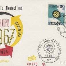 Sellos: ALEMANIA IVERT 398/9, EUROPA 1967, PRIMER DIA DE 2-5-1967. Lote 185896447