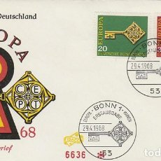 Sellos: ALEMANIA IVERT 423/4, EUROPA 1968, LLAVE, PRIMER DIA DE 29-4-1968. Lote 185896542