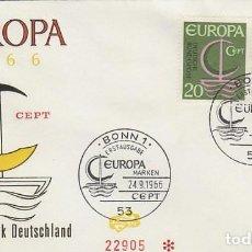 Sellos: ALEMANIA Nº 376/7, EUROPA 1966, PRIMER DIA 24-9-1966. Lote 185896653