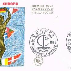 Sellos: ANDORRA FRANCESA EDIFIL 198, EUROPA 1966, PRIMER DIA DE 24-9-1966. Lote 185896797