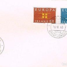 Sellos: ISLANDIA IVERT Nº 328/9, EUROPA 1963, PRIMER DIA DE 16-9-1963. Lote 185897117