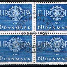 Sellos: DINAMARCA IVERRT Nº 394, EUROPAS 1960, USADO EN BLOQUE DE 4. Lote 190595396
