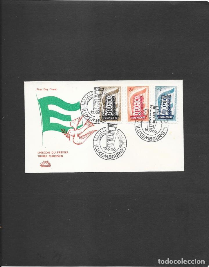 LUXEMBURGO 1956 SOBRE PRIMER DIA CIRCULACION, PALOMA EN COLOR ROJO (Sellos - Temáticas - Europa Cept)