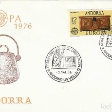 Sellos: ANDORRA EDIFIL 102/3, EUROPA 1976 (CALDERO Y COFRE DE NOVIA), PRIMER DIA DE 3-5-1976 SFC. Lote 192161587