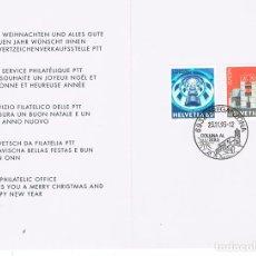 Sellos: SUIZA IVERT N 1428/9, ARQUITECTURA, MEDIATECA EN VILLEURBANNE, VILLA EN BERGANZOMA, P.D. 29-11-1993. Lote 192482863