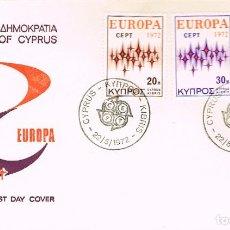 Sellos: CHIPRE IVERT Nº 366/8, EUROPA 1972, PRIMER DIA DE 22-5-1972. Lote 195483263