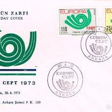 Sellos: TURQUIA IVERT Nº 2050/1, EUROPA 1971, PRIMER DIA DE 22-5-1972. Lote 195484162