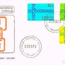 Sellos: CHIPRE IVERT Nº 351/3, EUROPA 1971, PRIMER DIA DE 3-5-1971. Lote 195484548