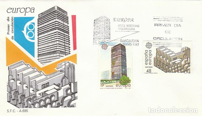 EDIFIL 2904/5, EUROPA 1987, ARQUITECTURA: CENTRO AZCA Y TEATRO ROMANO MERIDA PRIMER DIA 4-5-1987 SFC (Sellos - Temáticas - Europa Cept)