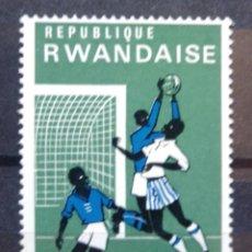 Sellos: RWANDA FUTBOL SELLO USADO. Lote 206204283