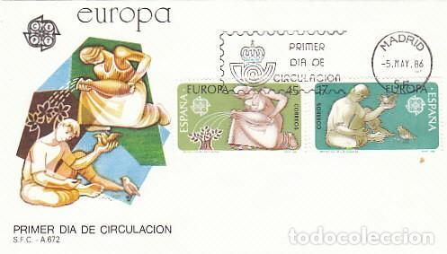 EDIFIL 2847/8, EUROPA 1986, PROTECCION DE LA NATURALEZA Y MEDIO AMBIENTE, PRIMER DIA 5-5-1986 SFC (Sellos - Temáticas - Europa Cept)