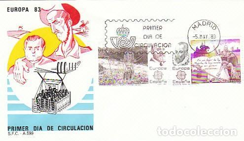EDIFIL 2703/4, EUROPA 1983, CERVANTES Y EL QUIJOTE Y TORRES QUEVEDO, PRIMER DIA DE 5-5-1983 SFC (Sellos - Temáticas - Europa Cept)