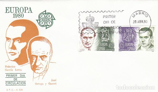 EDIFIL 2568/9, EUROPA 1980: ORTEGA Y GASSET Y GARCIA LORCA, PRIMER DIA MADRID 28-4-1980 SFC (Sellos - Temáticas - Europa Cept)