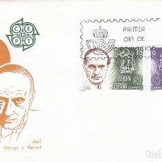 Sellos: EDIFIL 2568/9, EUROPA 1980: ORTEGA Y GASSET Y GARCIA LORCA, PRIMER DIA MADRID 28-4-1980 SFC. Lote 206365885