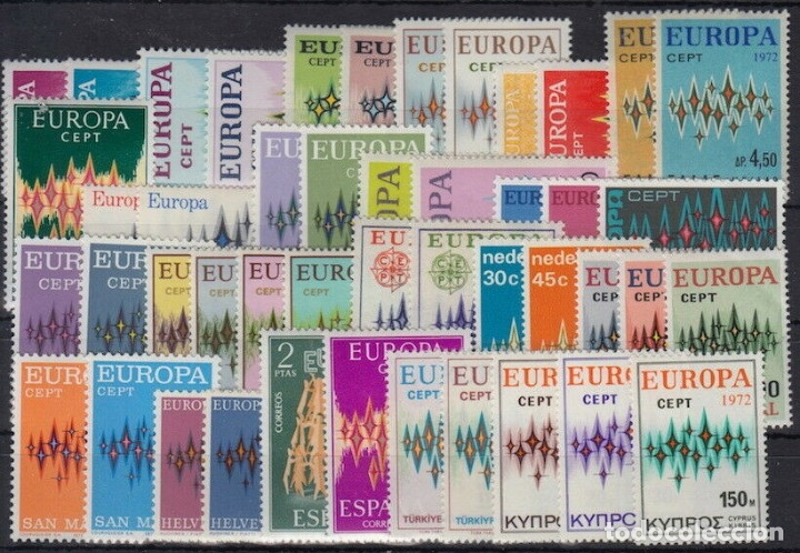 SELLOS EUROPA CEPT AÑO 1972 46 VALORES ,NUEVOS MNH, CON EDIFIL 72 EUROPA ANDORRA ESPAÑOLA CAT 215€ (Sellos - Temáticas - Europa Cept)
