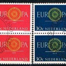 Sellos: HOLANDA IVERT Nº 726/7, EUROPA 1960, USADO EN BLOQUE DE 4 EN SERIE COMPLETA. Lote 213321870