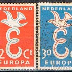 Sellos: HOLANDA IVERT Nº 691/2, EUROPA 1958, USADO EN SERIE COMPLETA. Lote 213322238