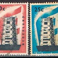 Sellos: HOLANDA IVERT Nº 659/60, EUROPA 1956, USADO EN SERIE COMPLETA. Lote 213322393