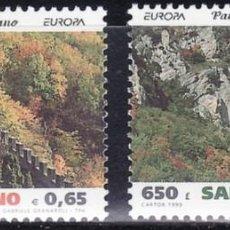 Sellos: TEMA EUROPA 1999 SAN MARINO PARQUES NATURALES 2V.. Lote 214459965