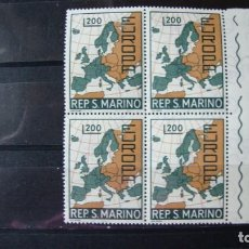 Sellos: TEMA EIROPA SAN MARINO 1967 BLOQUE DE 4 SIN CHARNELAS. Lote 216899851