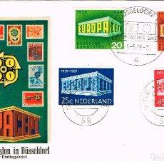 Sellos: ALEMANIA MAS HOLANDA, EUROPA 1969, PRIMER DIA 1-5- Y 8-5-1969, 2 PAISES EN UN MISDMO SOBRE, RARISIMO. Lote 218510121
