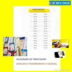 Sellos: 1 KILOGRAMO VARIADO DE TIRAS PROTECTORAS PARA SELLOS NEGRAS.. Lote 228764761