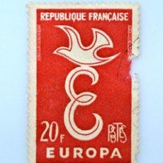 Sellos: SELLO POSTAL FRANCIA 1958, 20 F ,EUROPA PALOMA SOBRE LETRA E, USADO. Lote 231336750