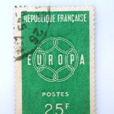 Sellos: SELLO POSTAL FRANCIA 1959 ,25 F ,EUROPA, USADO. Lote 231429160