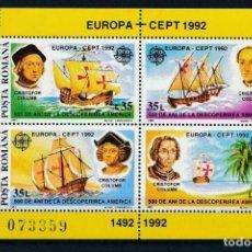 Sellos: RUMANIA 1992 HB IVERT 220 *** EUROPA - 500º ANIVERSARIO DEL DESCUBRIMIENTO DE AMÉRICA - BARCOS. Lote 231585970