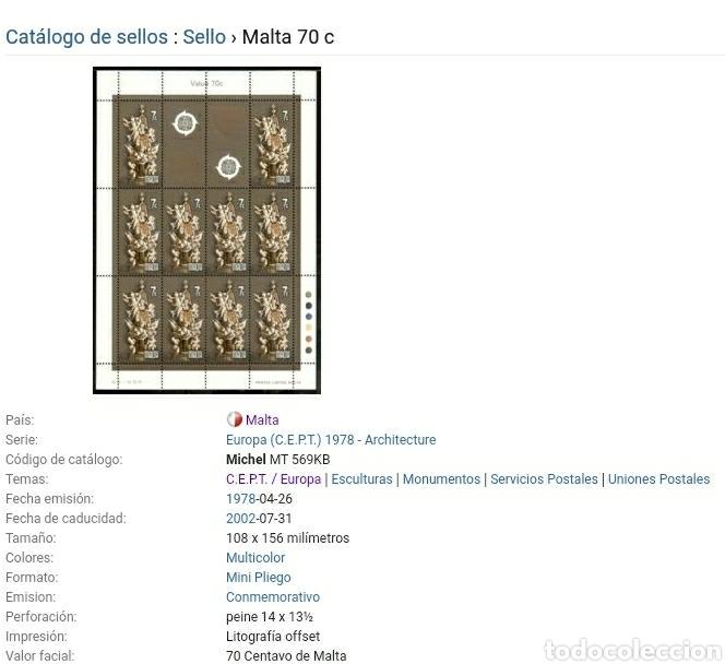 Sellos: Sellos de Malta nuevos/1978/europa/CEPT/union/postal/arte/esculturas/monumentos/arquitectura/angeles - Foto 2 - 233862075