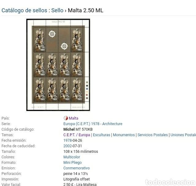 Sellos: Sellos de Malta nuevos/1978/europa/CEPT/union/postal/arte/esculturas/monumentos/arquitectura/angeles - Foto 3 - 233862075
