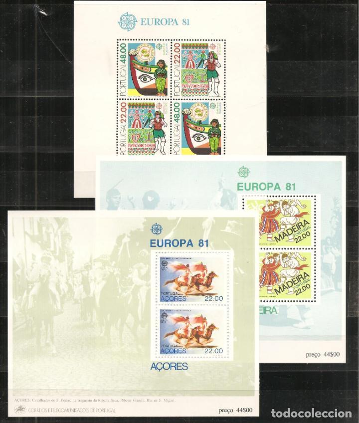 Sellos: LOTE TEMA EUROPA 1981, UNA SERIE DE CADA + HB DE PORTUGAL+MONACO+AZORES+MADEIRA (NO ES AÑO COMPLETO) - Foto 2 - 235809470