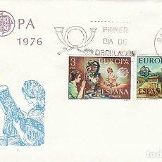 Sellos: EDIFIL 2316/7, EUROPA 1976, ARTESANIA: TALAVERA Y CAMARIÑAS, PRIMER DIA DE 3-5-1976 SFC. Lote 247114730