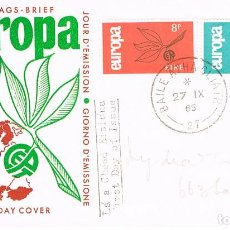 Sellos: IRLANDA IVERT 175/6, EUROPA 1965, PRIMER DIA DE 27-9-1965. Lote 247116350