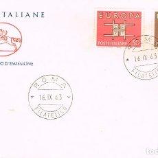 Sellos: ITALIA IVERT Nº 895/6, EUROPA 1963, PRIMER DIA DE 16-9-1963. Lote 247133630