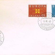 Sellos: ISLANDIA IVERT Nº 328/9, EUROPA 1963, PRIMER DIA DE 16-9-1963. Lote 247133735