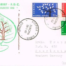 Sellos: CHIPRE IVERT 207/9, EUROPA 1963, PRIMER DIA DE 28-1-1963. Lote 247135195