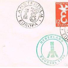Sellos: HOLANDA, EUROPA 1958, PRIMER DIA DE 13-9-1958. Lote 287890503