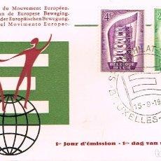 Selos: BELGICA IVERT 994/5, EUROPA 1956, PRIMER DIA DE 15-9-1956. Lote 247136400