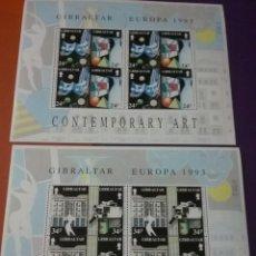 Sellos: HB (2) GIBRALTAR NUEVAS/1993/EUROPA/CEPT/ARTE/CONTEMPORANEO/MUSICA/MASCARA/PINTUTA/CERAMICA/VIDRIO/. Lote 264725004