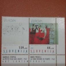Sellos: SELLO ESLOVENIA NUEVA/1993/EUROPA/CEPT/ARTE/CUADROS/PINTURA/MODERNA/NIÑA/JUEGOS/MESA/POMPEYA/. Lote 266574648