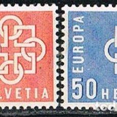Sellos: SUIZA IVERT 630/1, EUROPA 1959, NUEVO CON SEÑAL DE CHARNELA (SERIE COMPLETA). Lote 277467053