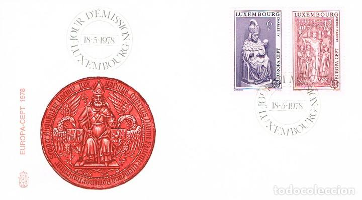 LUXEMBURGO IVERT 917/8, 1978, ESTATUA CARLOS IV, MONUMENTO FUNERARIO CATEDRAL MAYENCE, SPD 30-4-1978 (Sellos - Temáticas - Europa Cept)