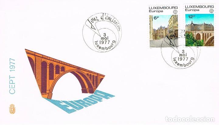 LUXEMBURGO IVERT 895/6, EUROPA 1977, VISTAS DE LA CIUDAD DE LUXEMBURGO, SOBRE PRIMER DIA 3-5-1977 (Sellos - Temáticas - Europa Cept)