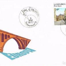 Sellos: LUXEMBURGO IVERT 895/6, EUROPA 1977, VISTAS DE LA CIUDAD DE LUXEMBURGO, SOBRE PRIMER DIA 3-5-1977. Lote 278406823