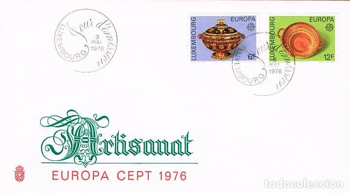 LUXEMBURGO IVERT 878/9, 1976, ARTESANIA: CERÁMICA DE NOSPELT, SIGLO XIX, SOBRE PRIMER DIA 3-5-1977 (Sellos - Temáticas - Europa Cept)
