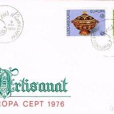 Sellos: LUXEMBURGO IVERT 878/9, 1976, ARTESANIA: CERÁMICA DE NOSPELT, SIGLO XIX, SOBRE PRIMER DIA 3-5-1977. Lote 278407053