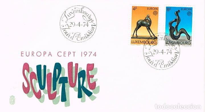 LUXEMBURGO IVERT 832/3 ESCULTURA: BICHE DE A.TREMONT Y ABSTRACTA DE WERCOLLIER PRIMER DIA 29-4-1974 (Sellos - Temáticas - Europa Cept)